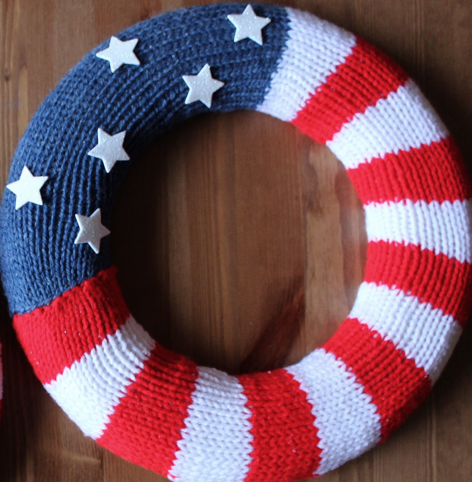 Knit Wreath Knitted Wreath Flag Wreath Patriotic