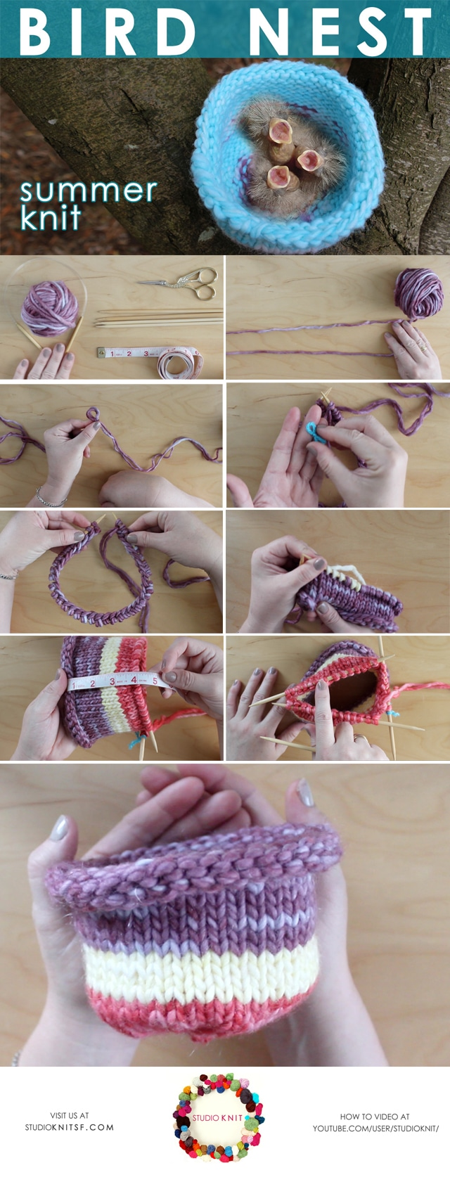 Knit a BIRD NEST for WildCare: Summer Knit Series by Studio Knit