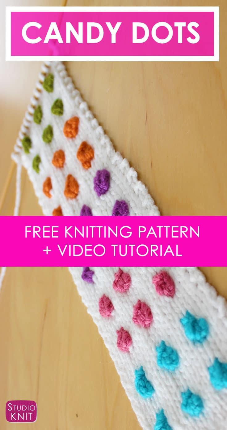 Knit a Candy Button Dot Cuff Bracelet with Free Knitting Pattern + Video Tutorial by Studio Knit
