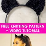 How to Knit Cat Ears Like Ariana Grande Wears with Free Knitting Pattern and Video Tutorial by Studio Knit