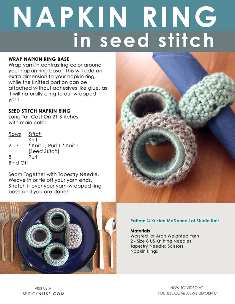 How to Knit Napkin Rings in Seed Stitch by Studio Knit