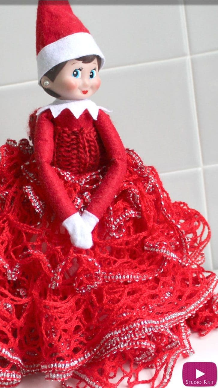 Frilly Skirt & Sneaky Gown - Elf Shelf Fashion - Free Knitting Pattern + Video Tutorial with Studio Knit