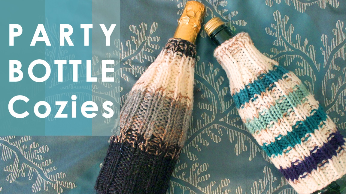 How to Knit Party Bottle Cozies