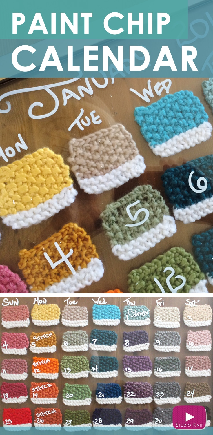 How to Knit a Pantone Swatch Paint Chip Calendar with Free Knitting Pattern + Video Tutorial by Studio Knit