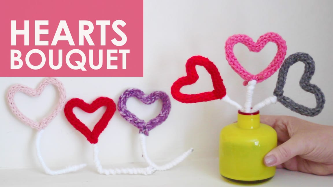 I-Cord Knitted Heart Bouquet