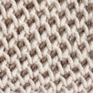 Honeycomb Brioche Knitting Pattern in beige color yarn.