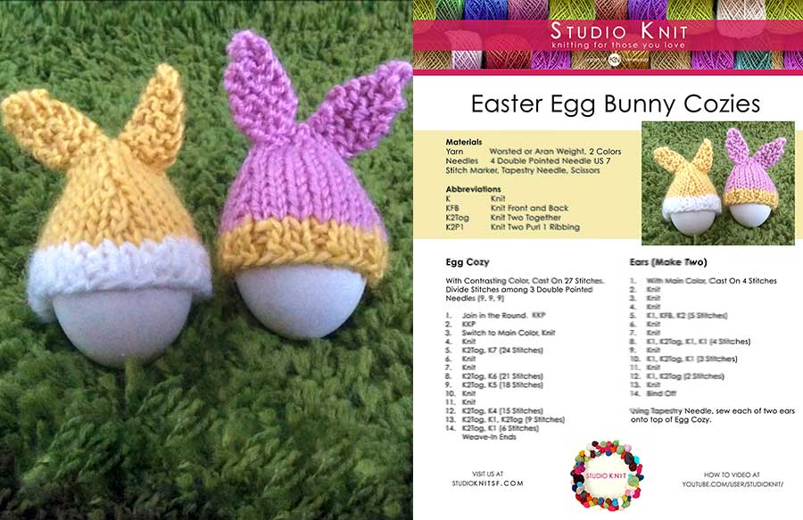 Easter Egg Bunny Cozies by Studio Knit Knitting Pattern Download