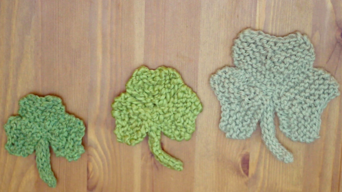 Knit Shamrock Clover Free Pattern for St. Patricks Day Studio Knit