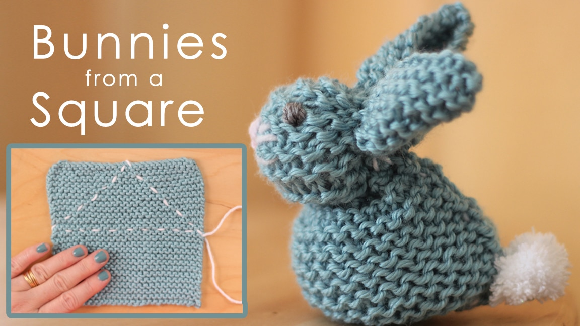 How to Knit a Bunny from a Square for Easter