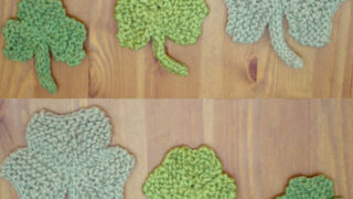 6 Knitted Shamrock Shapes in a variety of sizes and shades of green yarn color.