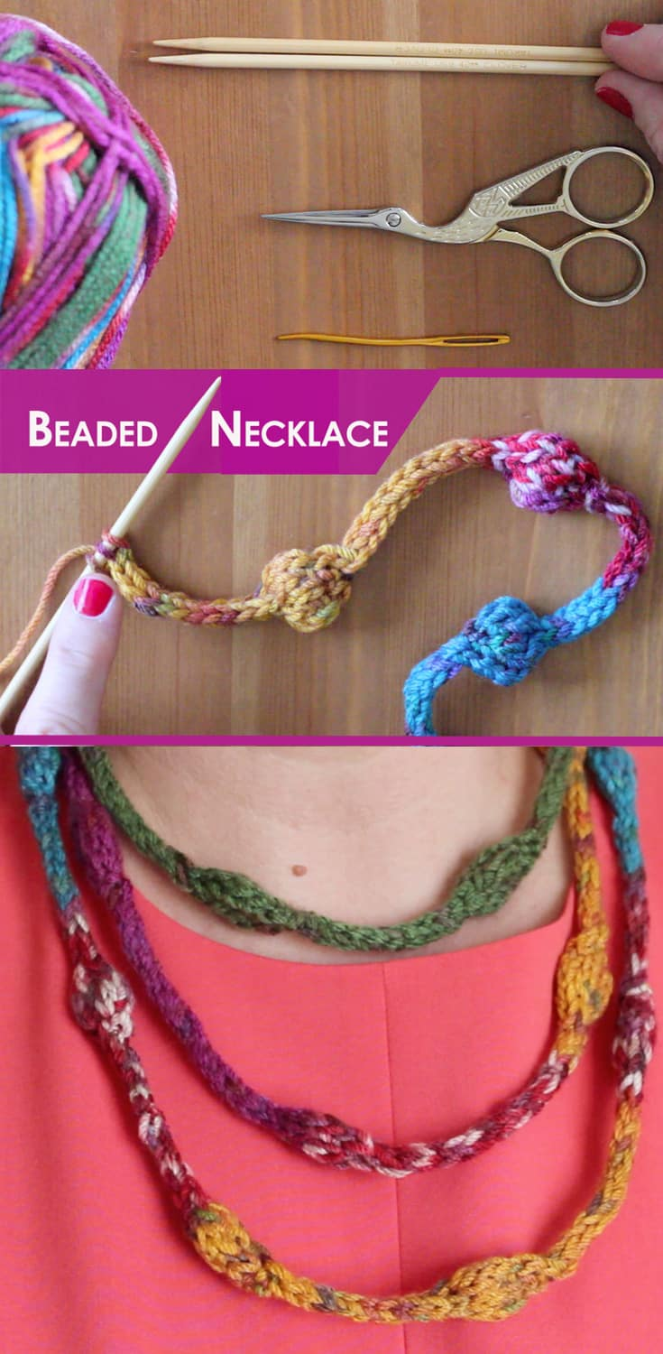 How to Knit a Beaded Necklace Free Knitting Pattern + Video Tutorial with Studio Knit