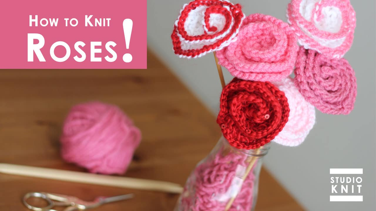 how to knit rose flower pattern with video tutorial