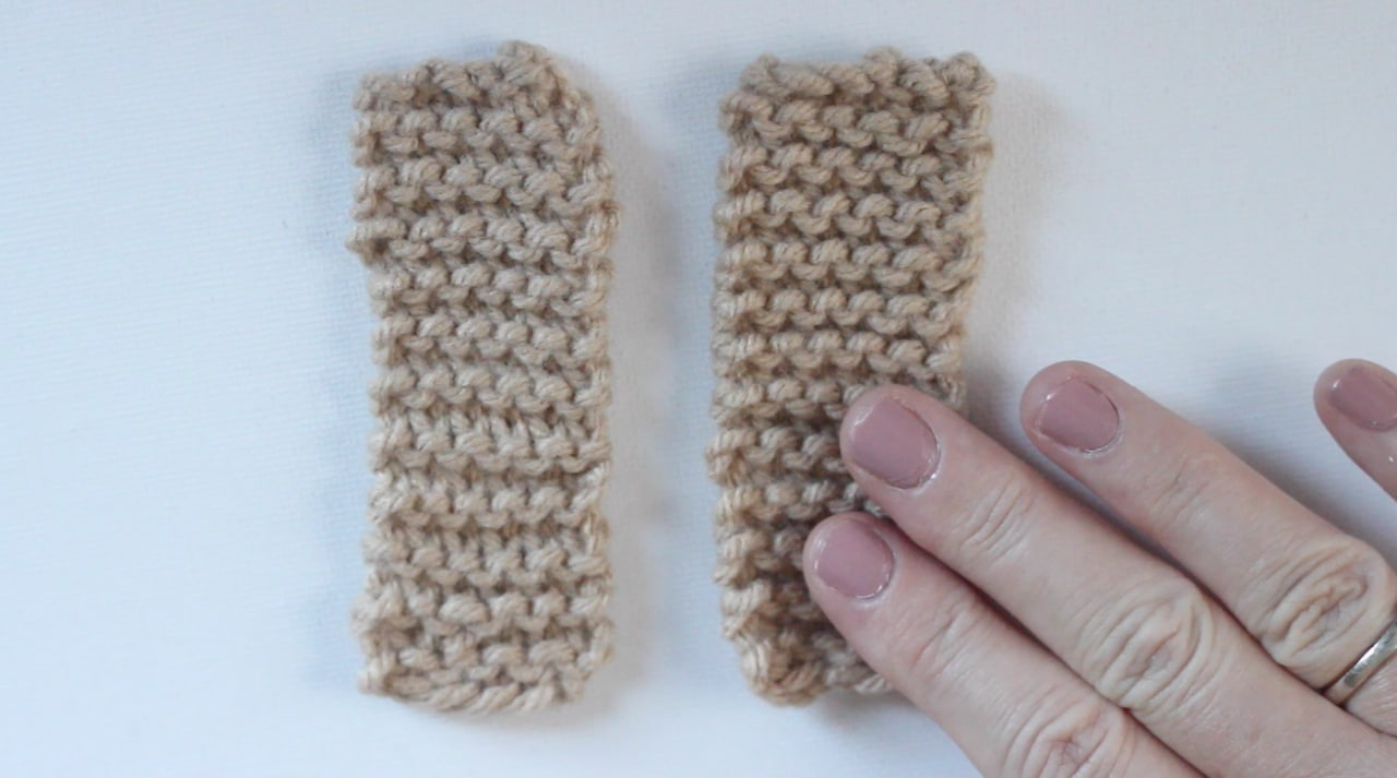 Two swatches of knitting to begin the Baby Booties pattern