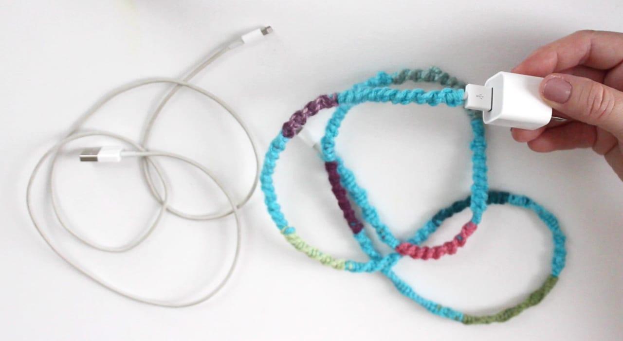 Phone Cord DIY Yarn Wrapped Chinese Ladder Craft with Studio Knit