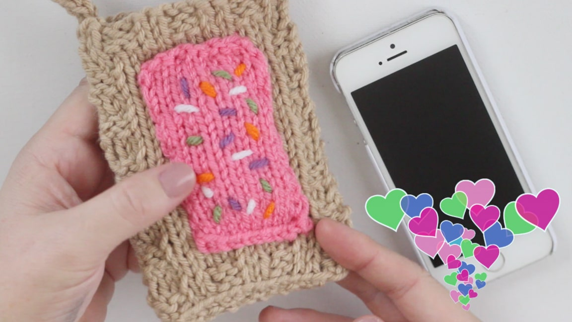 How to Knit Pop Tart Knitted Phone Covers for Beginning Knitters with Studio Knit | Watch Free Knitting Video Tutorial