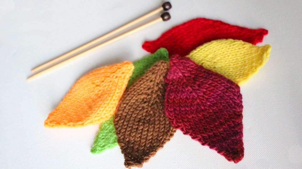 Knitting Pattern Leaf : How to Knit a LEAF: Thanksgiving DIY for Beginning Knitters Studio Knit