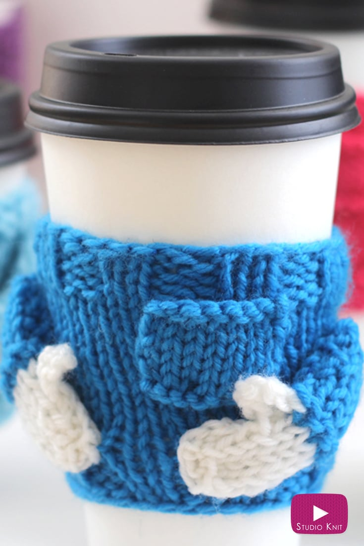 Knitted Coffee Cozy Sweaters for Christmas Holiday Quick Knit Gifts with Easy Free Knitting Pattern by Studio Knit