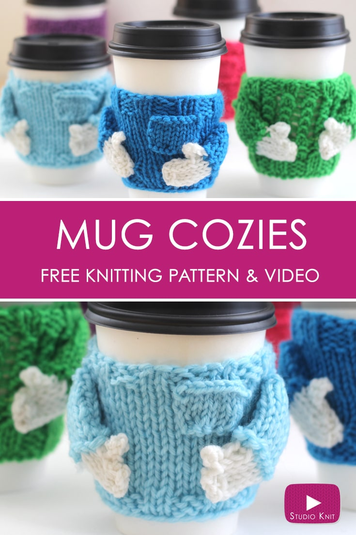 Knitted Coffee Cozy Sweater Pattern with Video Tutorial | Studio Knit