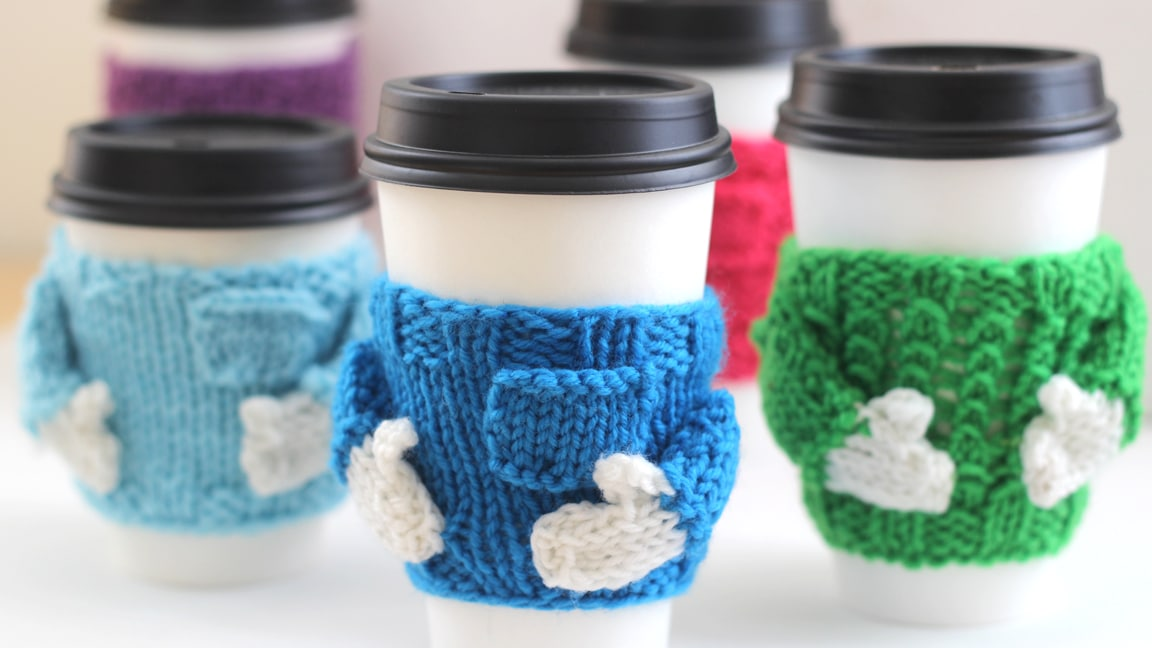 Knitted Coffee Cozy Sweaters: Holiday Gift Idea