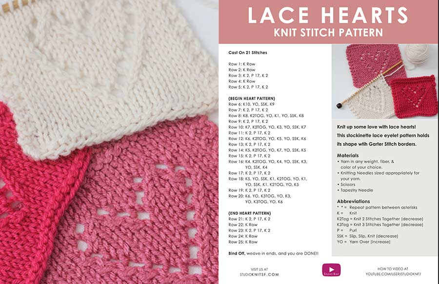 Lace Knitted Heart Written knitting pattern
