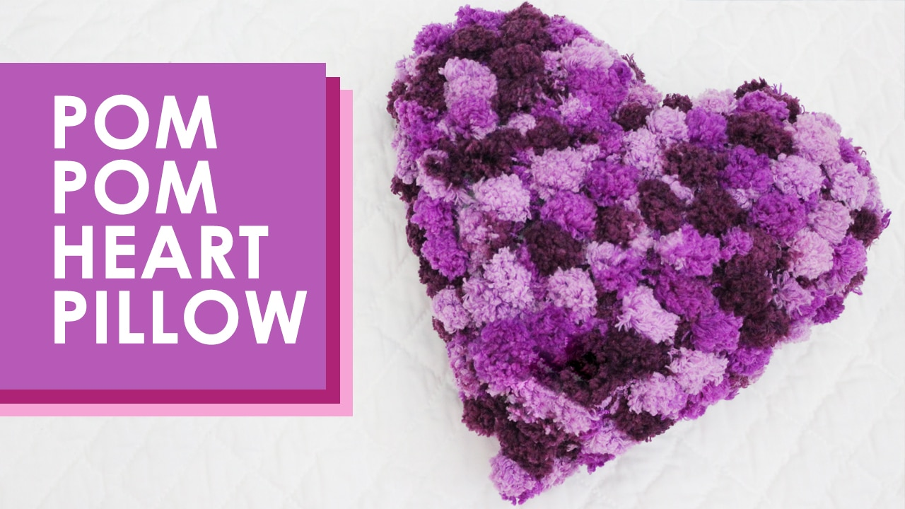 How to Knit a Pom Pom Heart Pillow with Free Pattern + Video Tutorial by Studio Knit