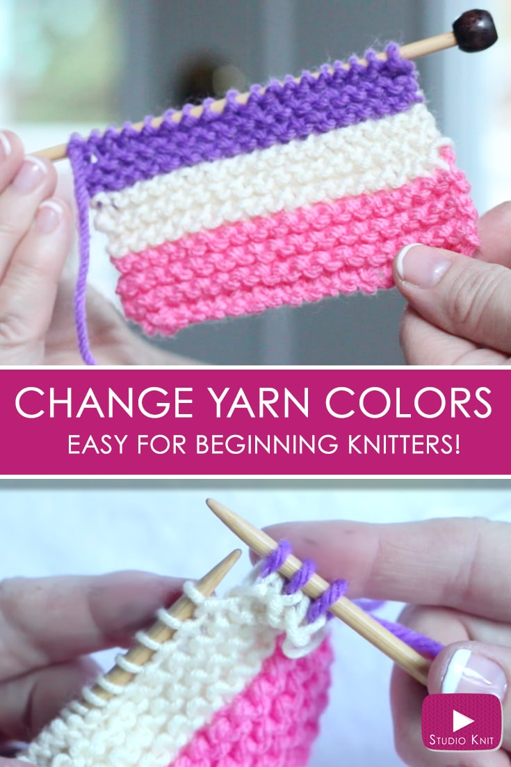 How to Change Yarn Colors While Knitting for Beginning Knitters with Studio Knit - Watch Free Knitting Video Tutorial