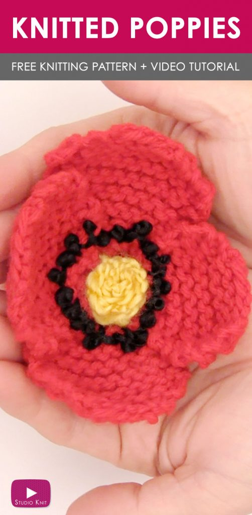 Knitted Poppies with hand holding finished flower in red yarn