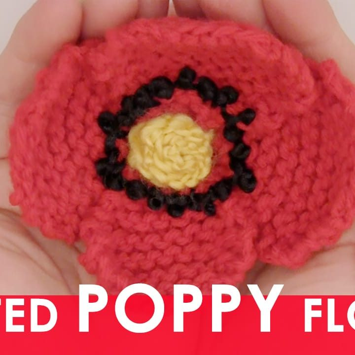 How to Knit a Poppy Flower with Easy Free Knitting Pattern + Video Tutorial by Studio Knit