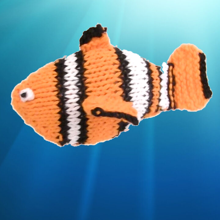 Knitted Fish Finding Nemo Clown in orange, white, and black yarn colors.