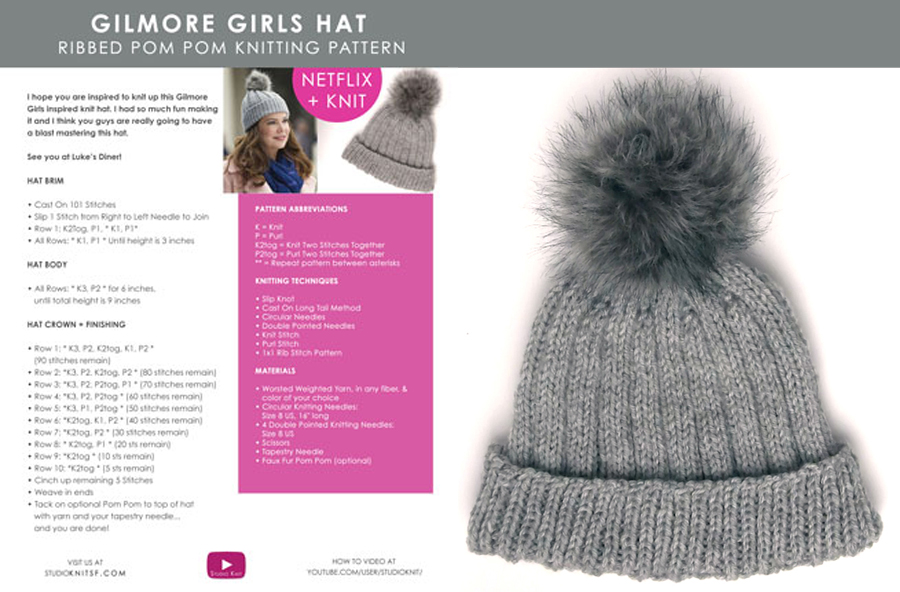 How to Knit a Gilmore Girls Hat Pattern with Video Tutorial  aff3e6e81e2
