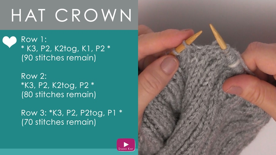 Knitting the crown of a hat on circular needles.