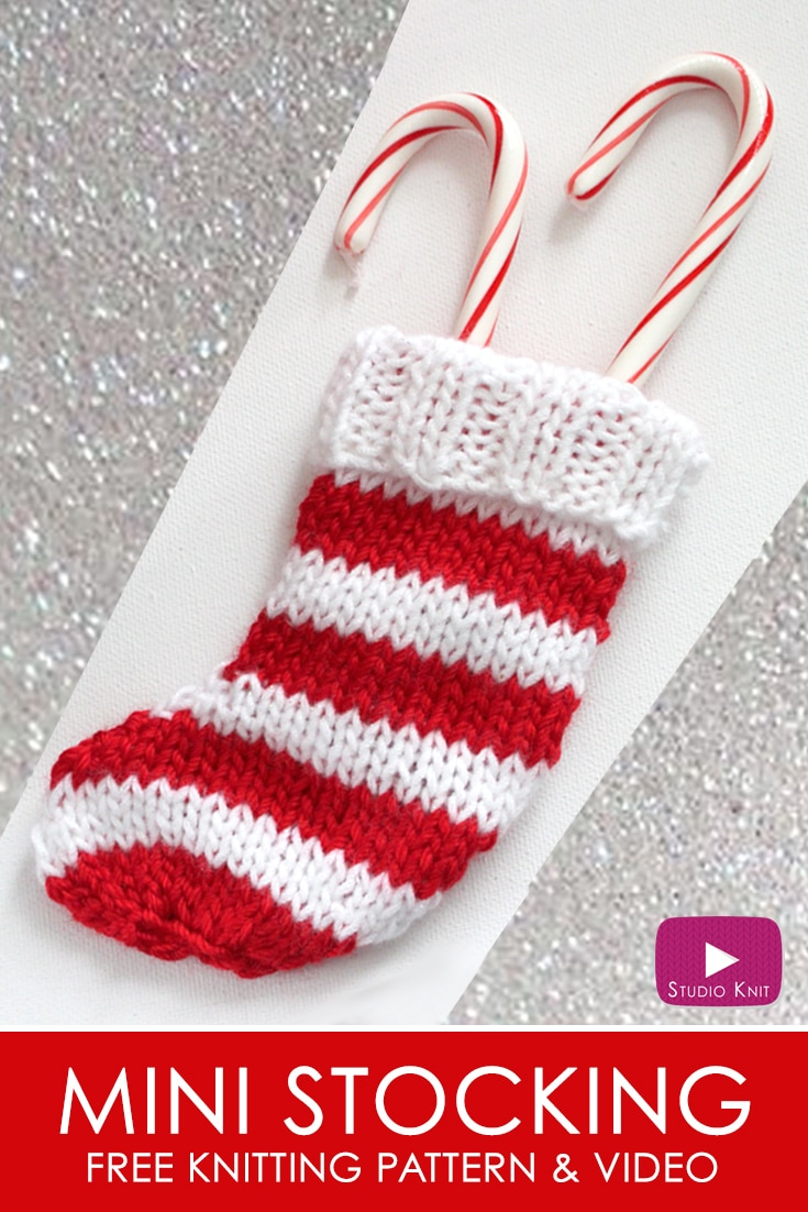 Knit A Mini Christmas Stocking Pattern With Video Tutorial Studio Knit