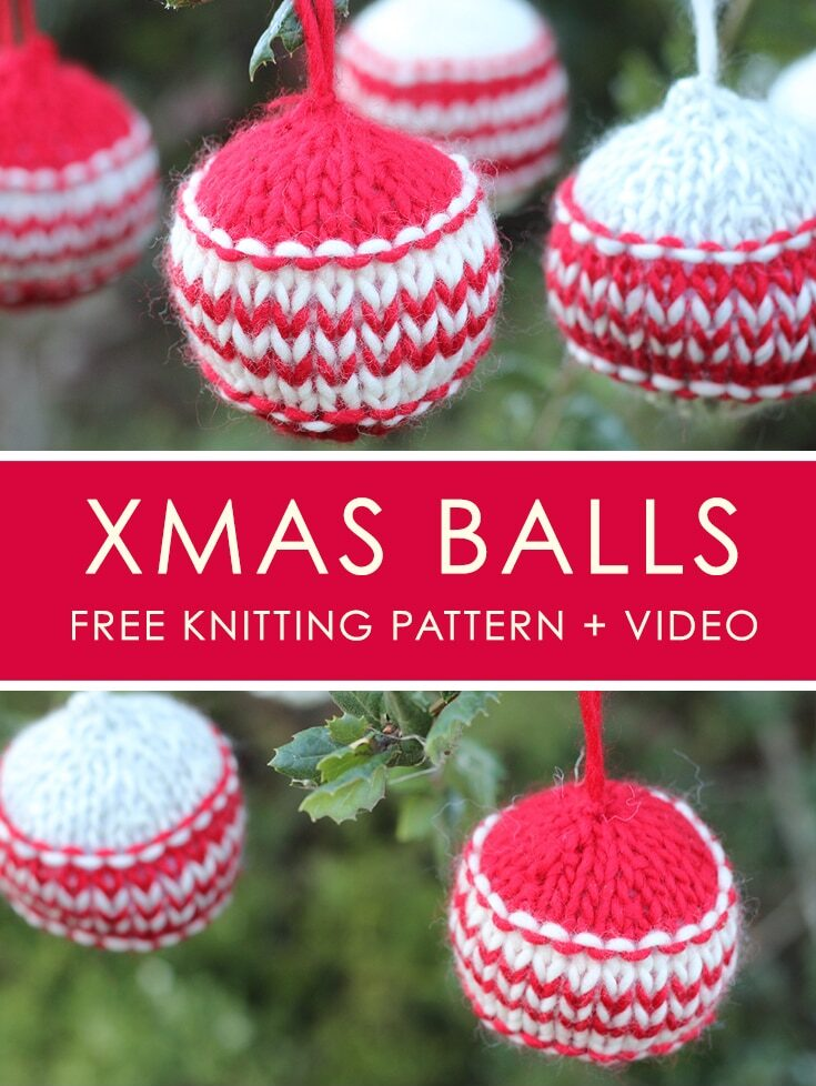 How to Knit Xmas Ball HOLIDAY ORNAMENTS | We Are Knitters + Studio Knit