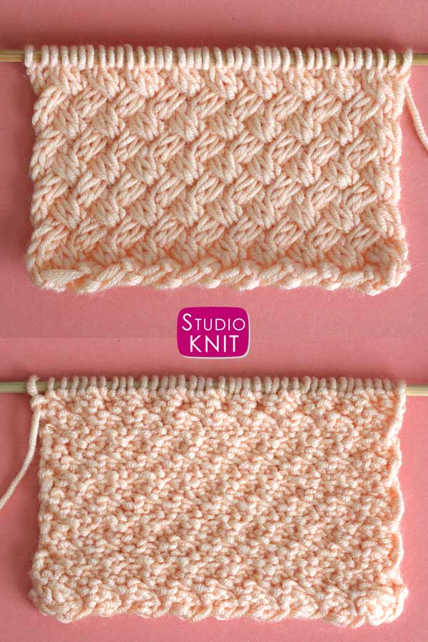 Right and wrong sides of the Diagonal Basket Weave Knit Stitch Pattern by Studio Knit