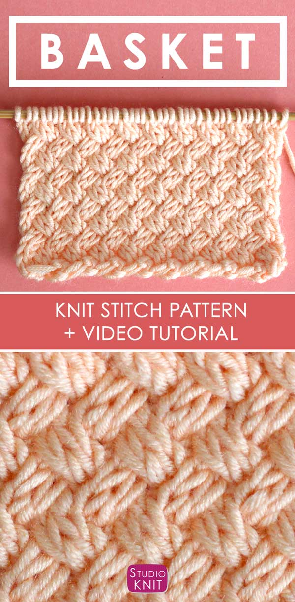 Knit the Diagonal Basket Weave Stitch Pattern with free pattern