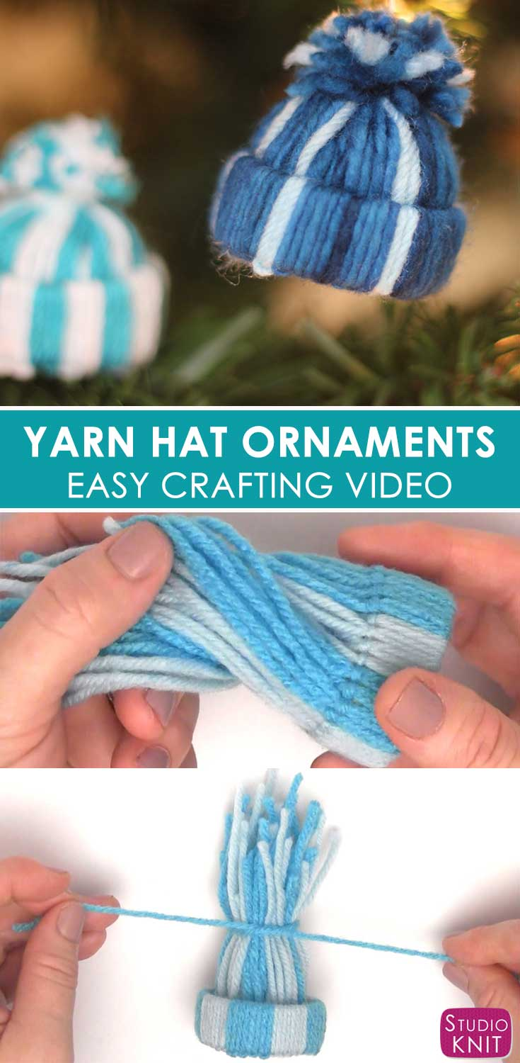 Yarn Hat Ornaments on pine tree and being constructed by hands.