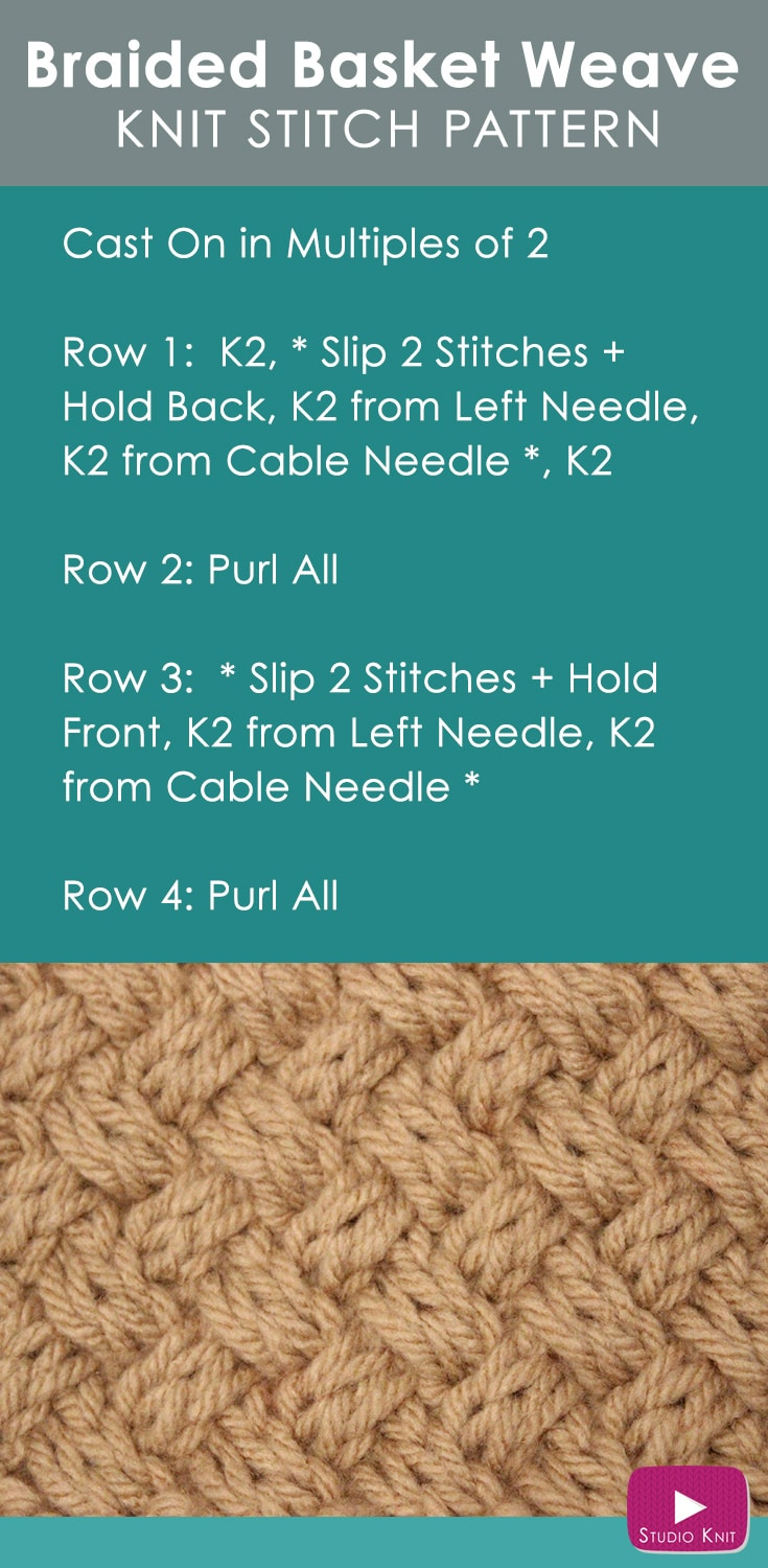 How To Do A Basket Weave Knit : How to knit the diagonal basket weave stitch pattern