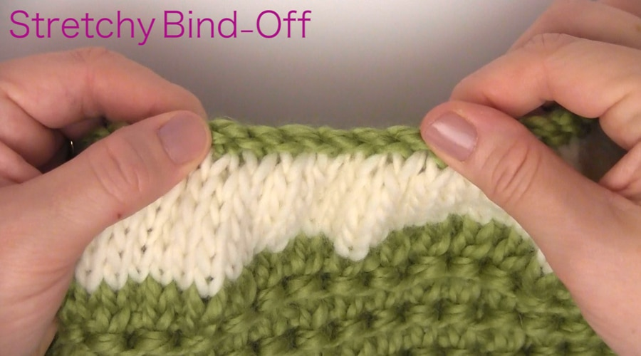 Bind Off. How to Knit a Messy Bun Hat Beanie Ponytails in 7 Easy Steps. Free Pattern + Video Tutorial by Studio Knit.