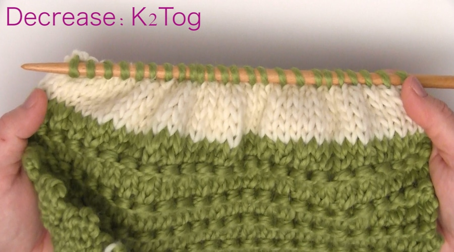 Decrease K2Tog. How to Knit a Messy Bun Hat Beanie Ponytails in 7 Easy Steps. Free Pattern + Video Tutorial by Studio Knit.