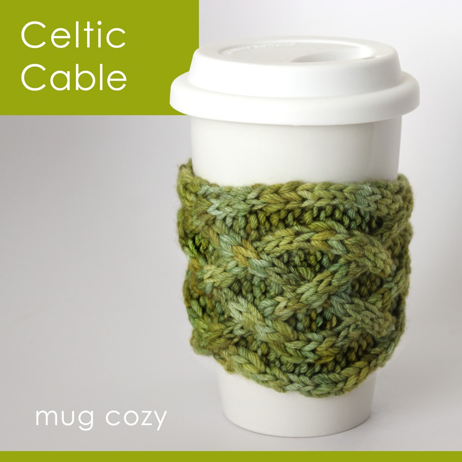 Knit Celtic Cable Mug Cozy