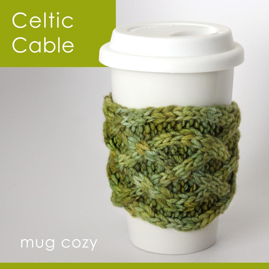 Knit Celtic Cable Mug Cozy