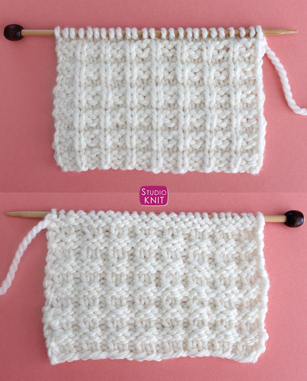 Right and Wrong Sides of Knitted Work - Waffle Knit Stitch Pattern by Studio Knit with Free Pattern and Video Tutorial.