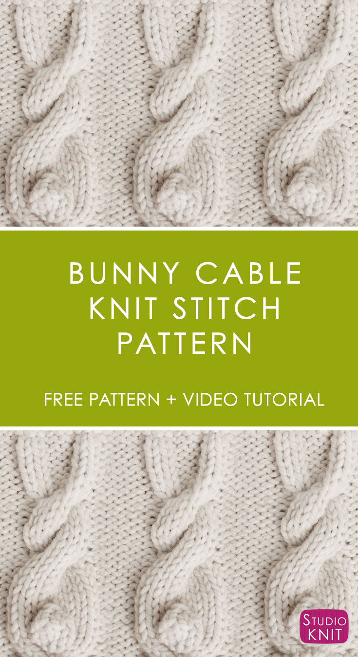 Bunny Cable Knit Stitch Pattern by Studio Knit