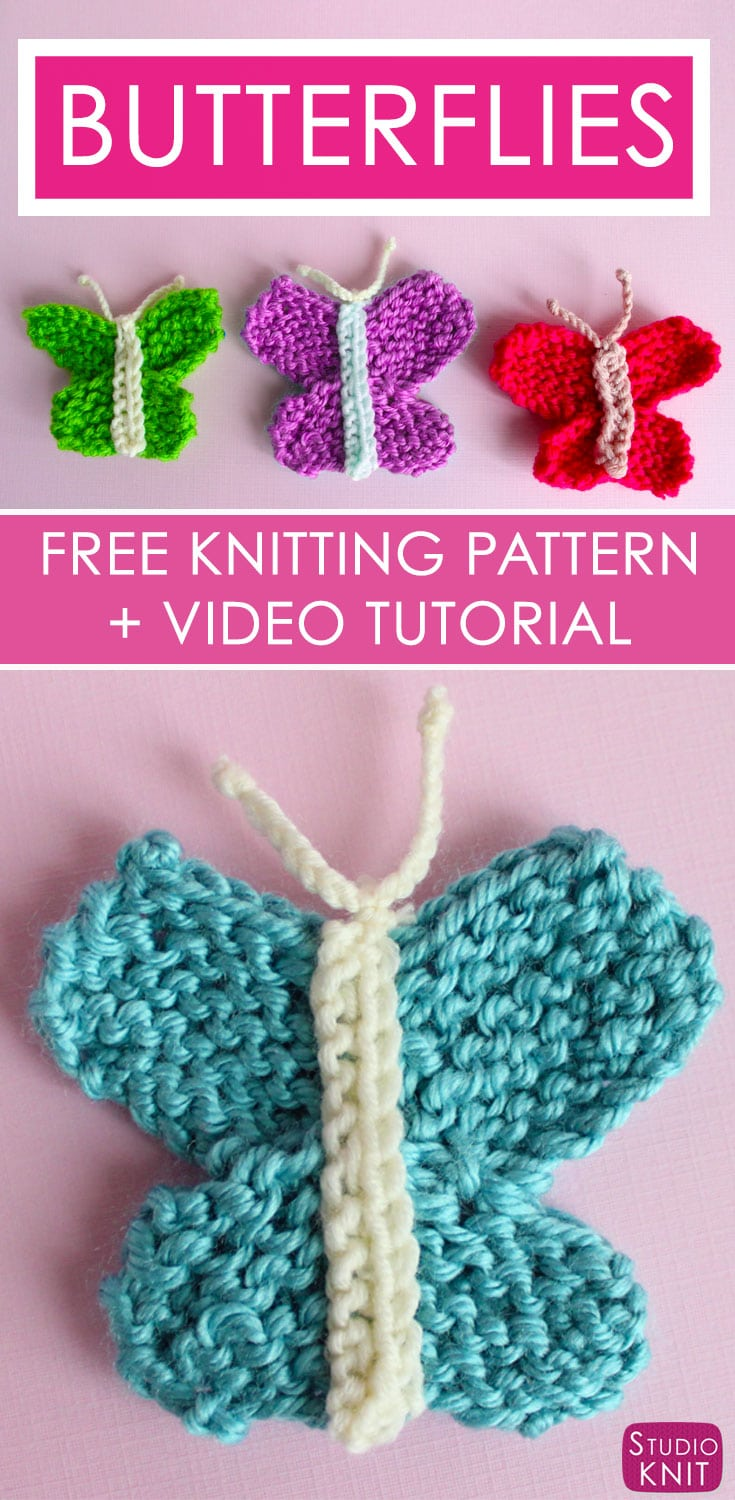 Butterfly Knitting Pattern with Video Tutorial | Studio Knit