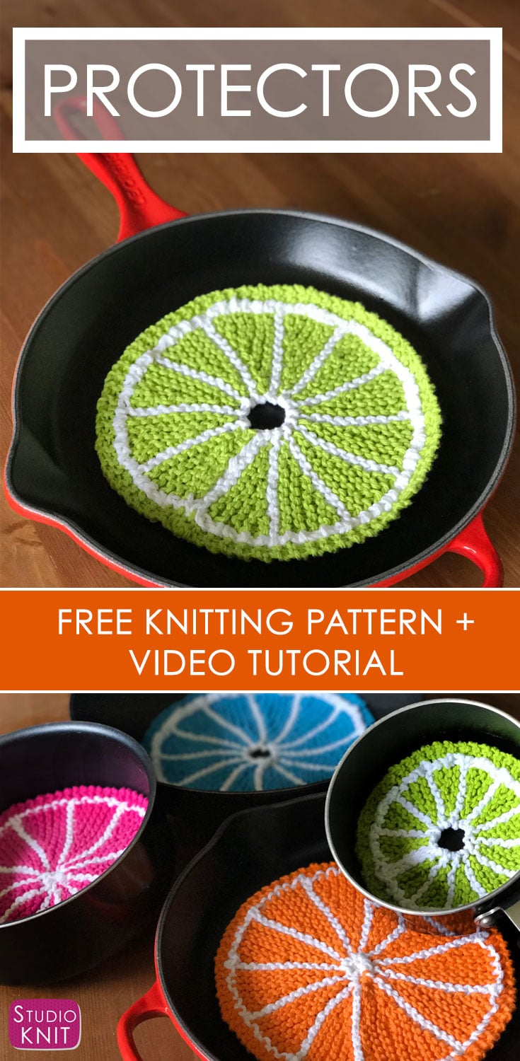 Knitted Pot and Pan Protectors - Fruit Slices with Easy Free Pattern + Knitting Video Tutorial with Studio Knit.