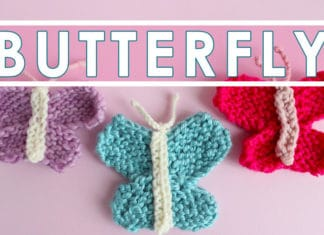 Butterfly Knitting Pattern with Easy Free Pattern + Video Tutorial by Studio Knit