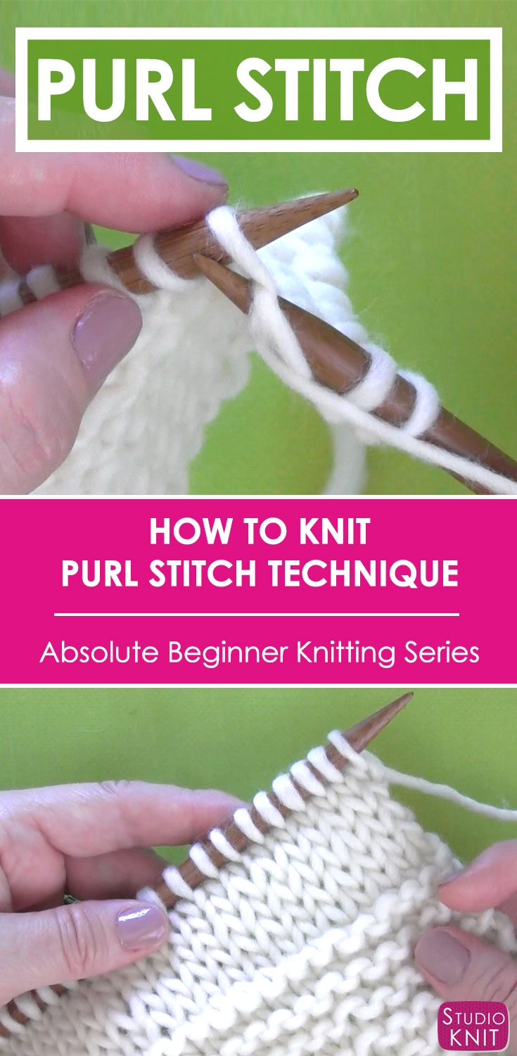 How to Purl Stitch | Knitting Technique with Video Tutorial | Studio ...