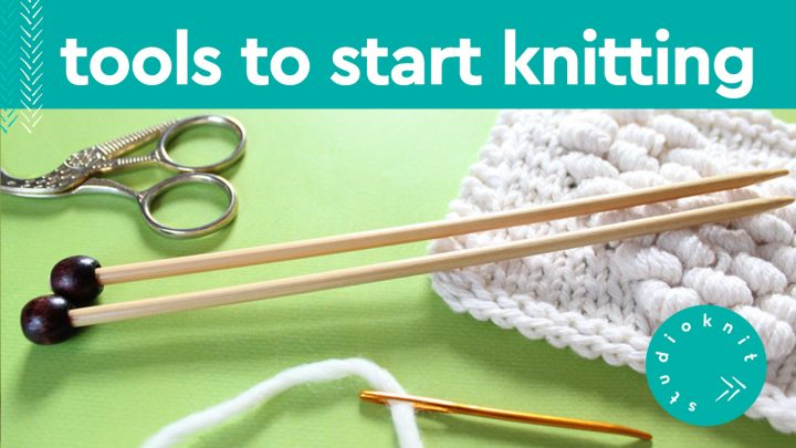 Knitting Tools with scissors, knitting needles, yarn, and tapestry needle