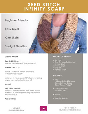 Seed Stitch Infinity Scarf Cowl. Easy Free Knitting Pattern and Video Tutorial for Beginning Knitters by Studio Knit
