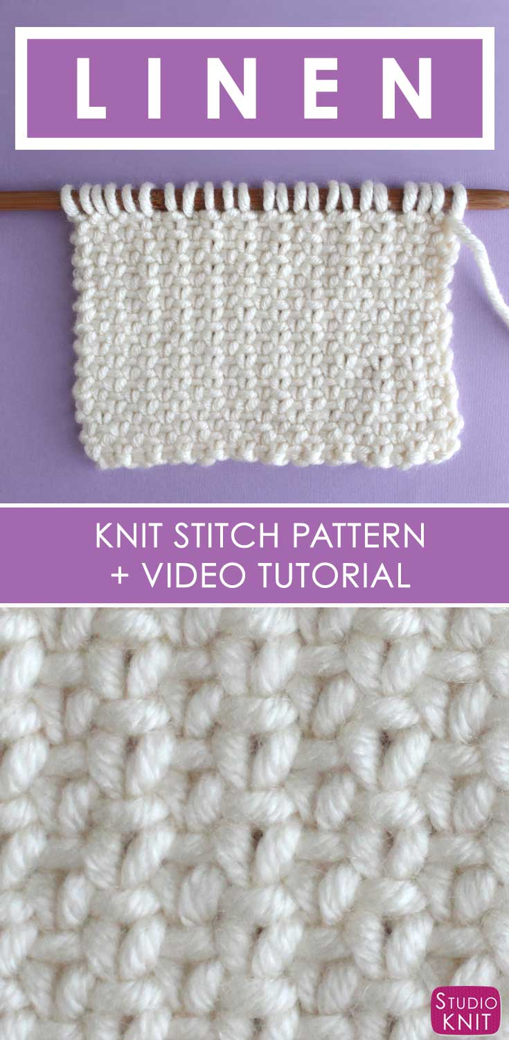 How to Knit the Linen Stitch with Free Written Pattern and Video Tutorial by Studio Knit.